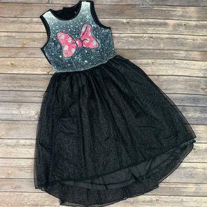 Disney Minnie Mouse Graphic Sequin Bow Black Dress